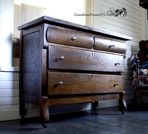 Wonderful Upcycled Antique Wooden Dresser | DIYIdeaCenter.com HS54