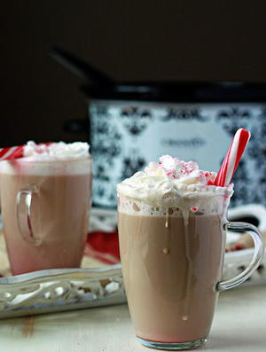 Slow Cooker Peppermint Vanilla Lattes
