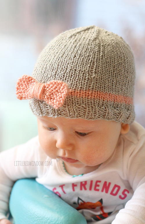Bow Baby Hat Allfreeknitting