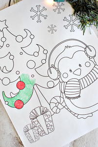 Vintage Christmas Scene Coloring Page | AllFreeChristmasCrafts.com