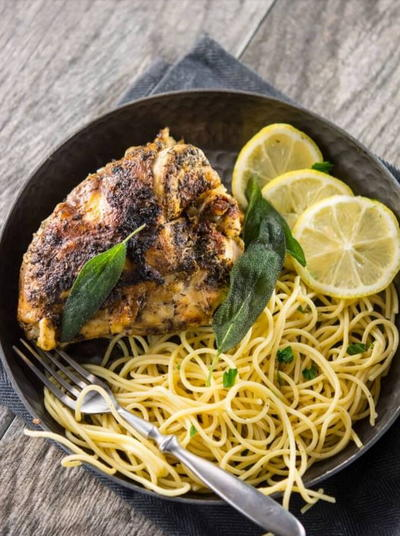 Sage Buttered Chicken with Lemon Pasta
