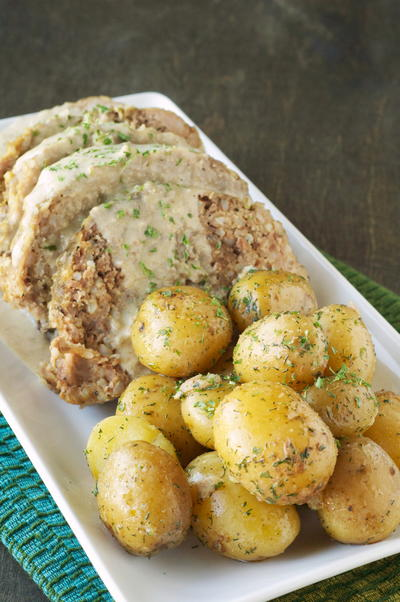 Creamy Slow Cooker Meatloaf with Baby Dill Potatoes