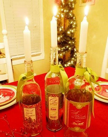Refashioned wine bottle candle holders for Wine bottle candle holder craft