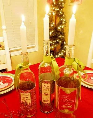 Refashioned Wine Bottle Candle Holders