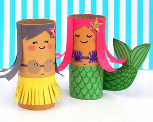 Toilet Paper Roll Hula Girl and Mermaid