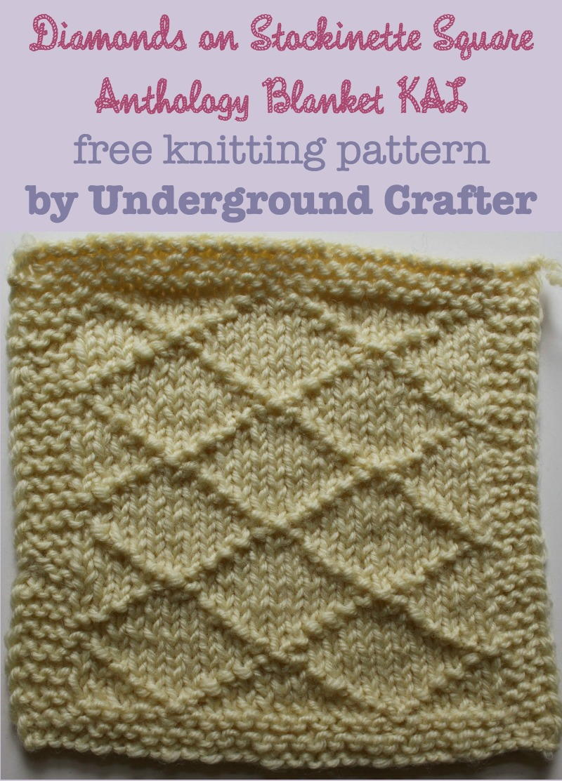 Diamonds on Stockinette Square | AllFreeKnitting.com
