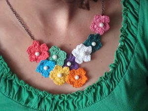 Crochet Flower Statement Necklace