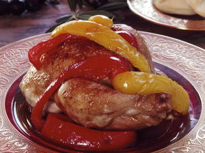 Poussin with Olive Puree and Sweet Peppers