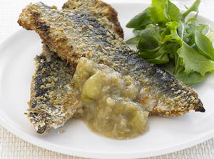 Herring in Oatmeal with Gooseberry Sauce