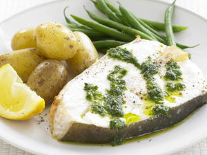 Grilled Halibut with Green Sauce