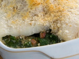 Finnan Haddie with Spinach and Pancetta