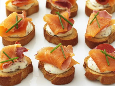 Smoked Salmon and Pancetta Crostini   Cookstr.com
