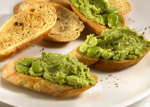 Fava Bean, Garlic, and Herb Crostini