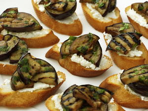 Eggplant and Goat Cheese Crostini
