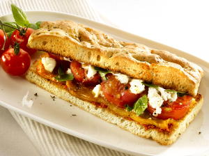 Focaccia Sandwich with Tomatoes and Peppers