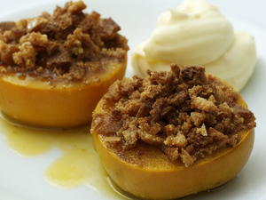 Baked Persimmons with Biscotti Crumbs