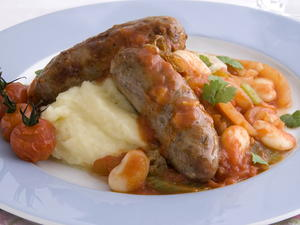 Sausages with Lima Beans