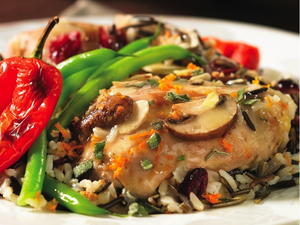 Sage and Onion Chicken with Cranberry Rice