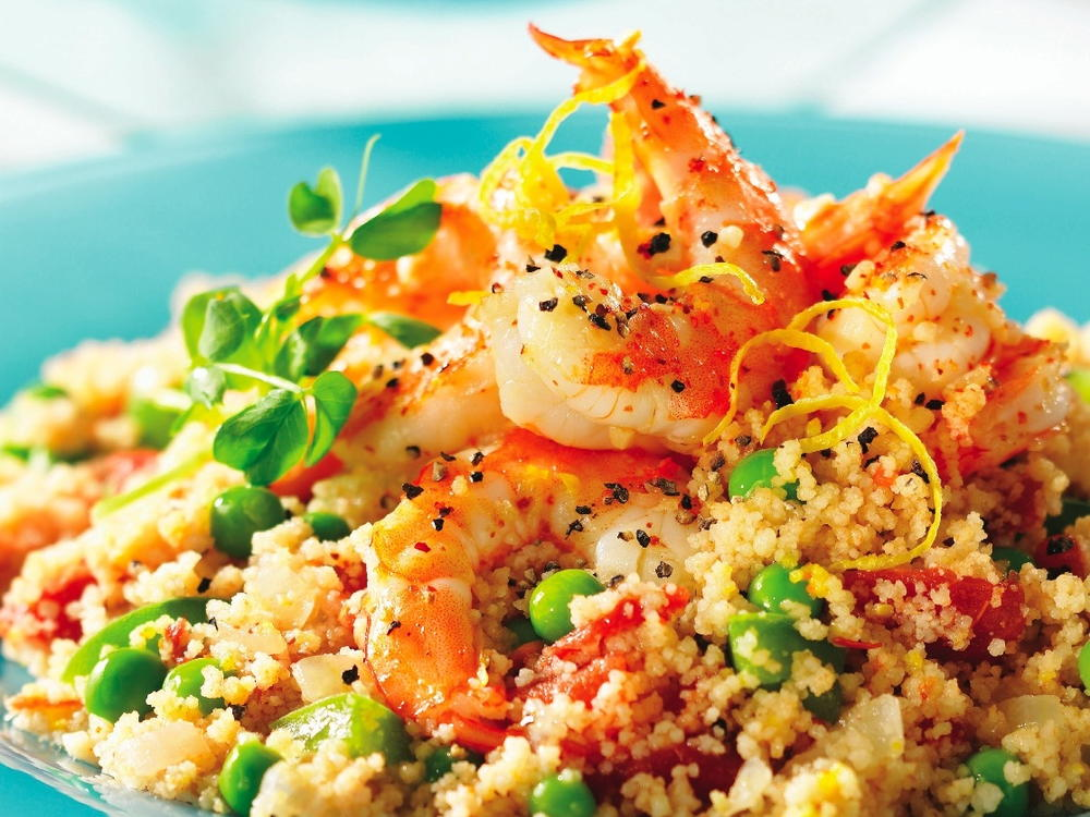 Peppery shrimp with couscous cookstr sisterspd