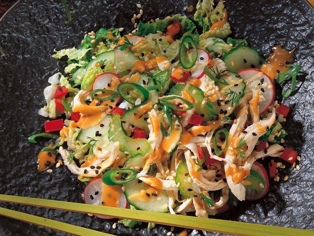 Chicken and vegetable salad with chinese sesame sauce cookstr forumfinder Choice Image