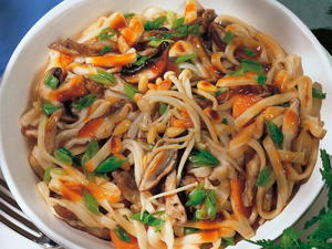 Chinese Braised Mixed Mushroom Noodles