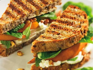 Spinach, Pear, and Walnut Panini with Feta