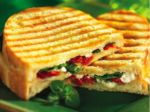 Spinach, Goat Cheese and Sun-Dried Tomato Panini