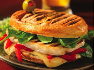 Grilled Chicken, Spinach, Red Pepper, and Pepper Jack Panini