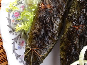 Grilled Whole Fish in Grape Leaves