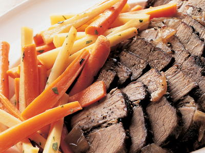 Zinfandel Pot Roast with Glazed Carrots  Fresh Sage