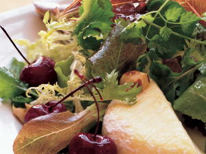 Mixed Lettuces with Roasted Cherries, Hazelnuts & Warm Saint-Marcellin