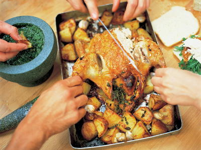 Roast Chicken With Lemon And Rosemary Roast Potatoes Cookstr