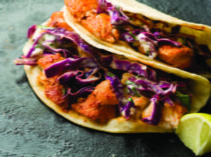 Guajillo-Chile Fish Tacos with Cabbage Slaw