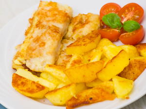 Baked Fish n' Chips with Honey Vinegar