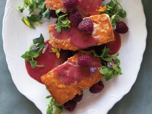 Grilled Salmon with Warm Raspberry Butter Sauce