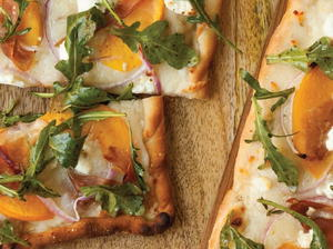 Peach and Prosciutto Pizza with Arugula