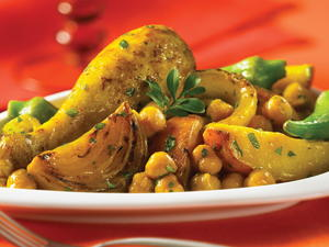 Golden Chicken with Potatoes and Chickpeas