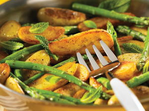 Sauteed Fingerlings with Asparagus & Mint