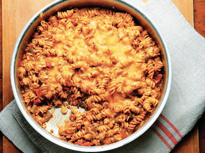 Ground Beef Recipes One-Skillet Beefy Enchilada Noodle Casserole
