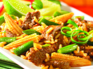 Stir-Fried Rice with Red Curry, Beef and Baby Corn
