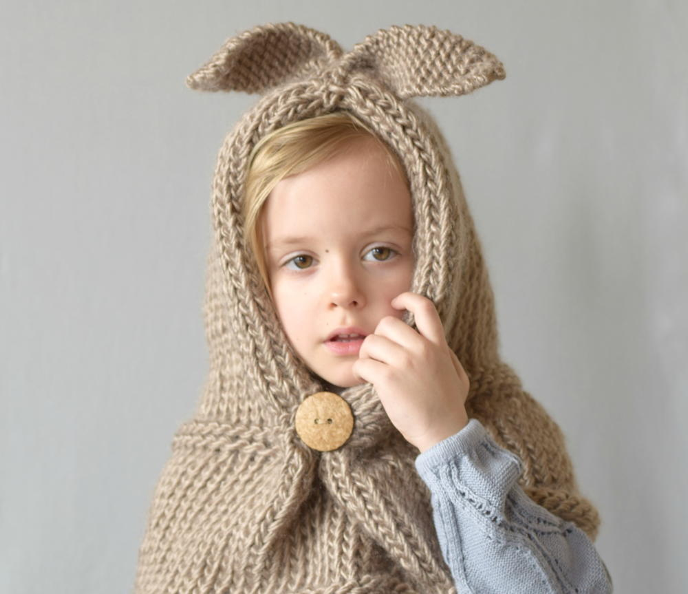 Free Crochet Pattern For Hooded Cowl With Ears : Hooded Bunny Knit Cowl FaveCrafts.com