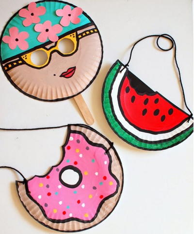 Swimmer, Watermelon, & Doughnut Paper Plate Crafts