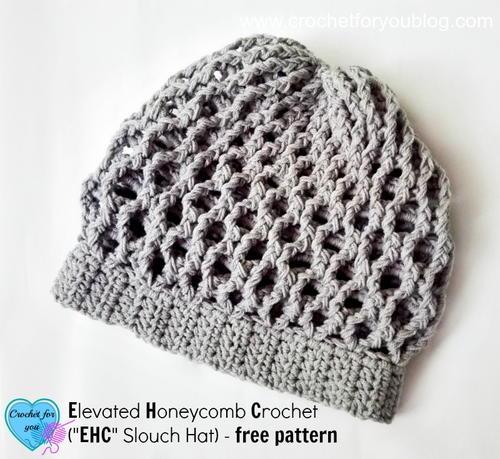 Elevated Honeycomb Crochet Slouch Hat Allfreecrochet