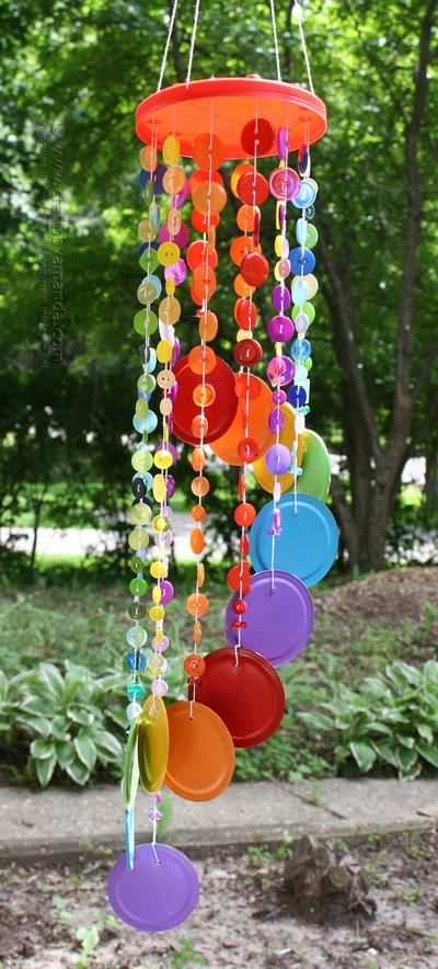 Rainbow Button DIY Wind Chime