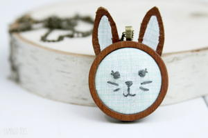 Embroidered Bunny Pendant