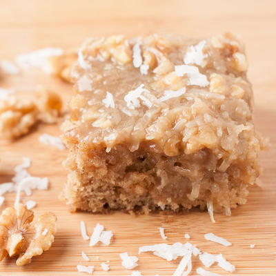 Easy Oatmeal Cake with Coconut Walnut Icing