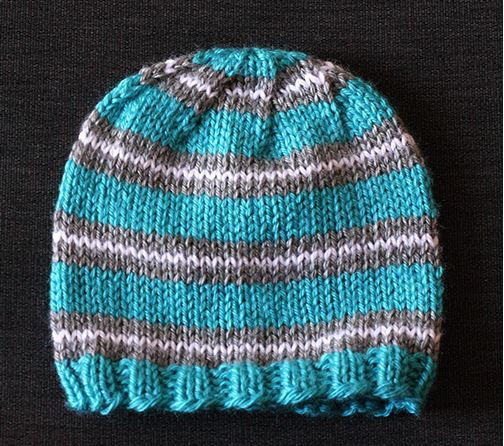 Sirdar Snuggly Knitting Patterns : Striped Baby Hat Knitting Pattern FaveCrafts.com