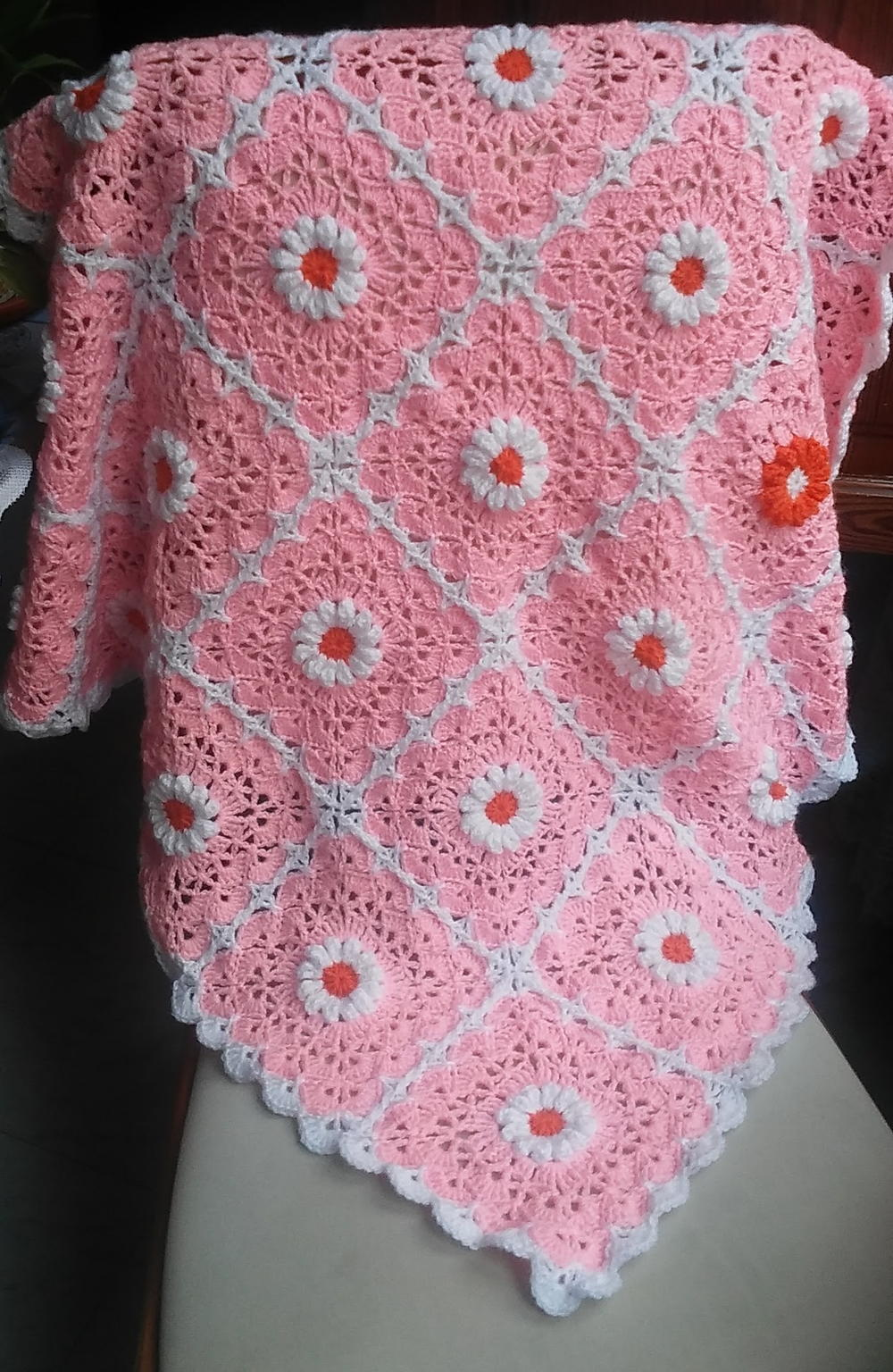 Pink Daisy Crocheted Baby Blanket | FaveCrafts.com