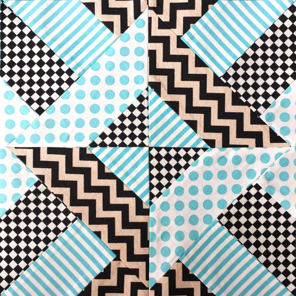 Doubly Striped Half Square Triangle Block Favequilts Com