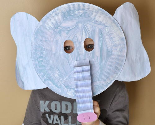 Ele-fun Paper Plate Mask : paper plate elephant mask - pezcame.com